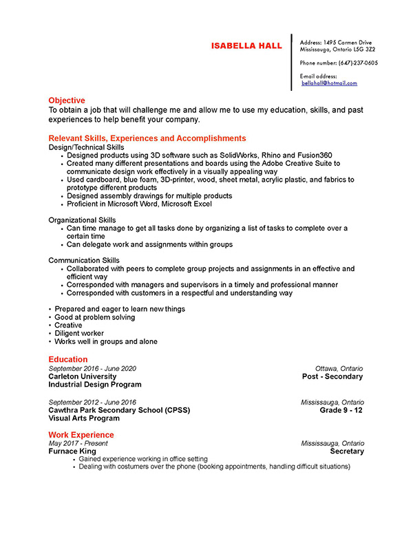 isabella hall - Resume