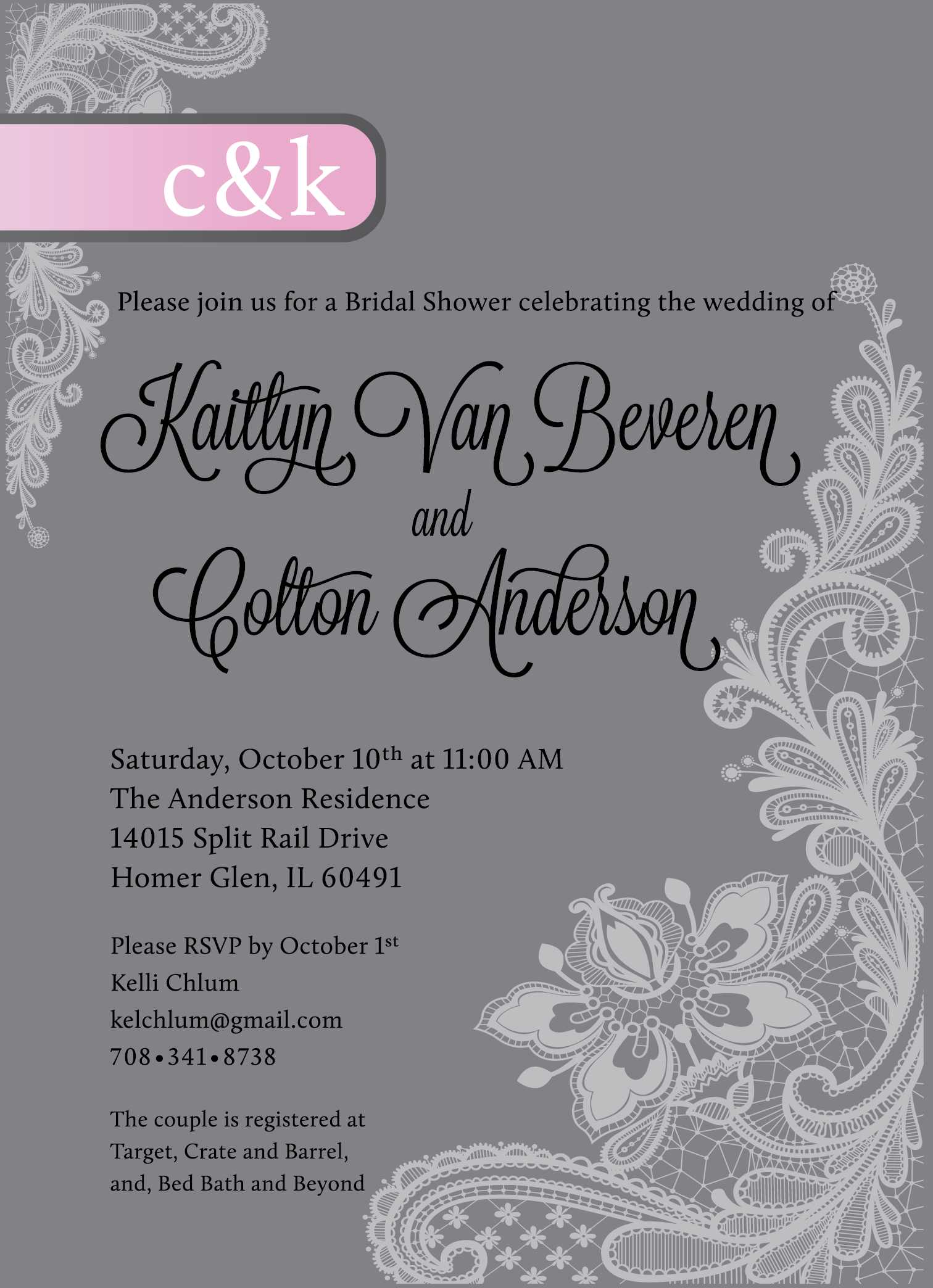 Andrea melone anderson wedding shower invitations bridal shower invitations commissioned by the maid of honor to match the wedding theme of vintage and romantic with wedding colors of grays and light pinks filmwisefo Choice Image