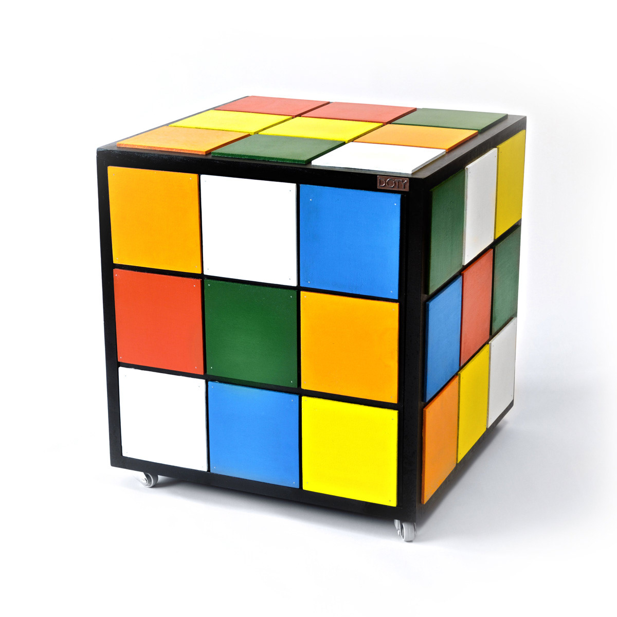 Designed As A Coffee Table Or Nightstand The Rubik S Cube Has Two Partitions Inside Push Pull Mechanism On Doors Makes Handleless And Seamless