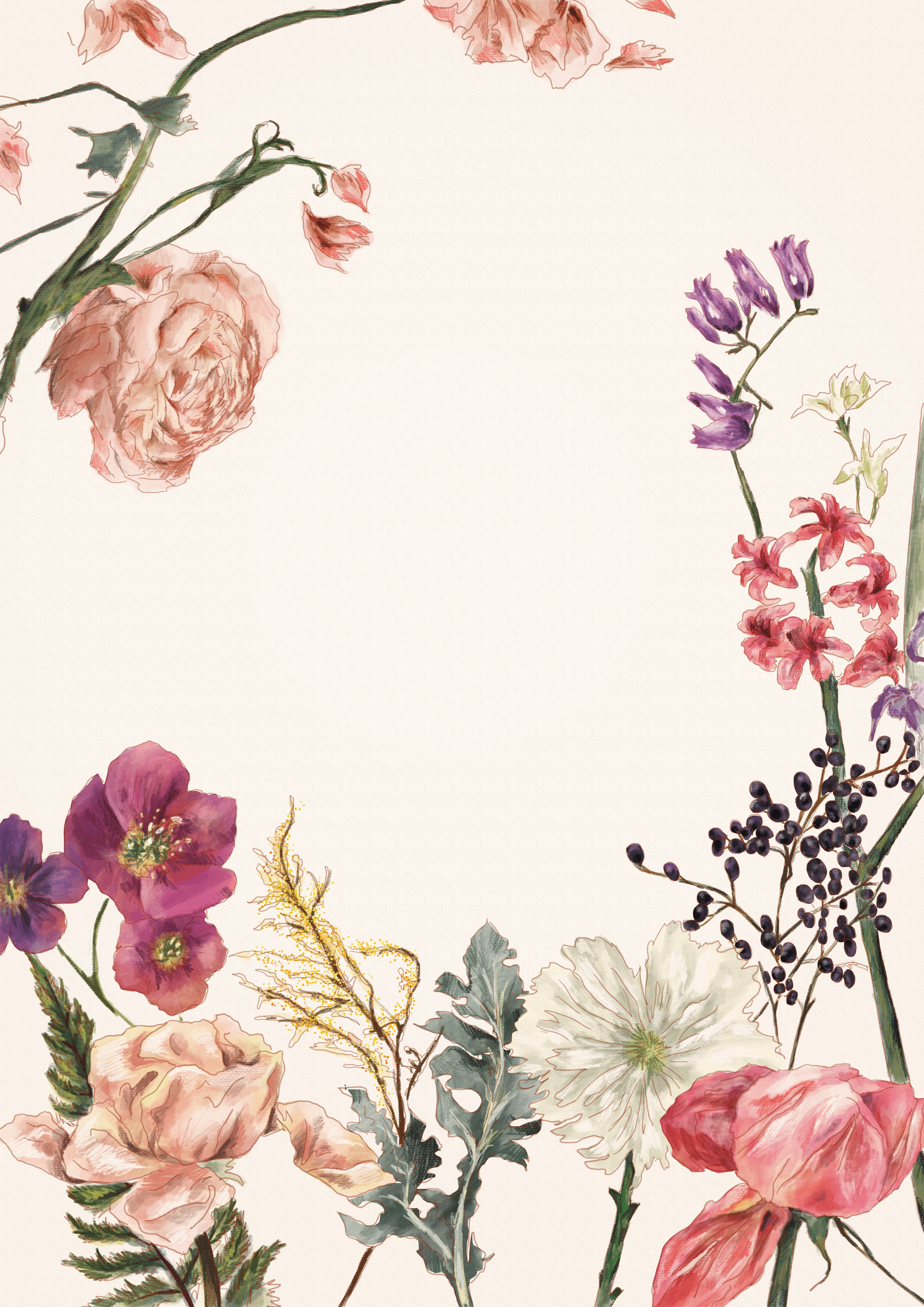 미라 신 flower illustrations for poster