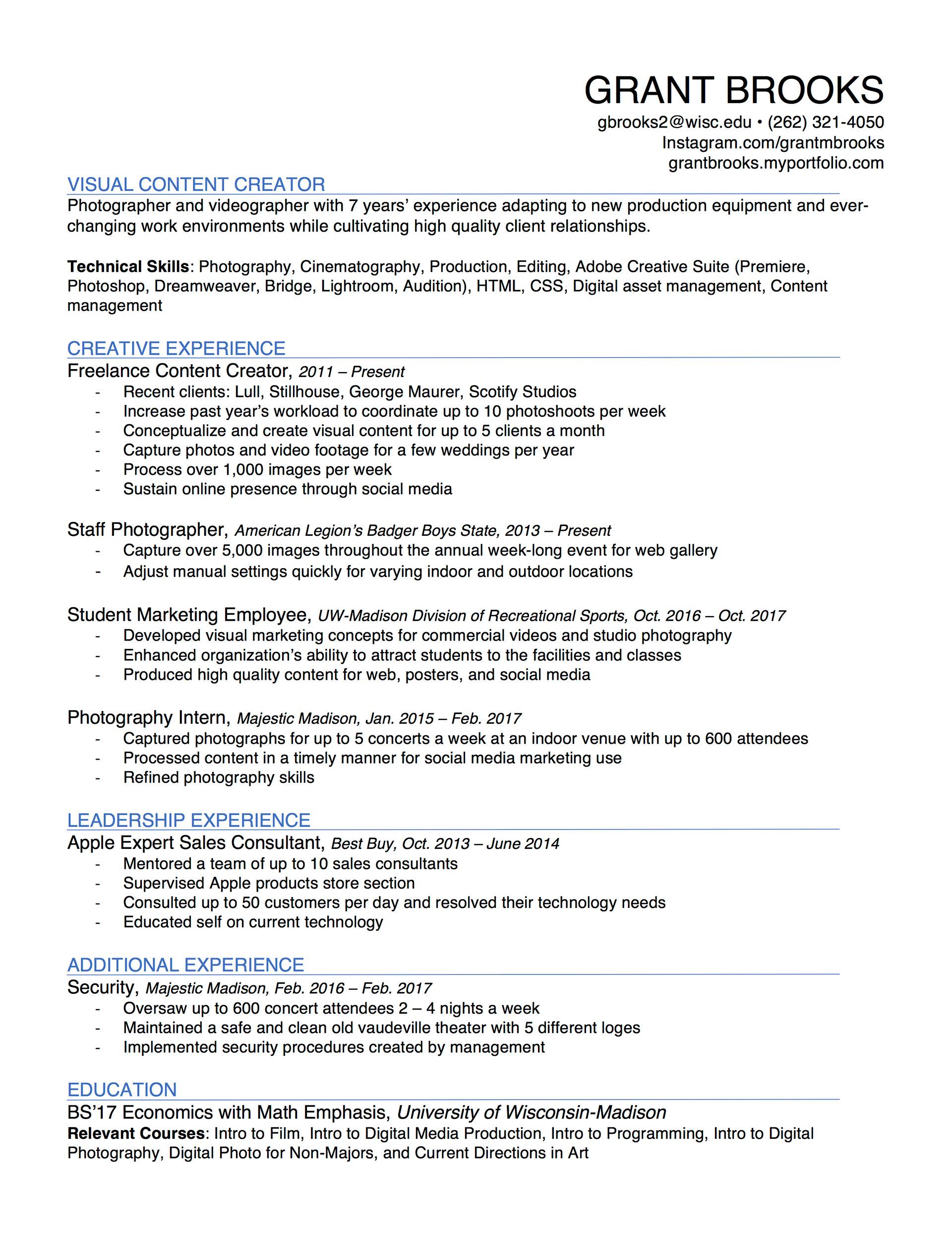 Grant Brooks - Resume