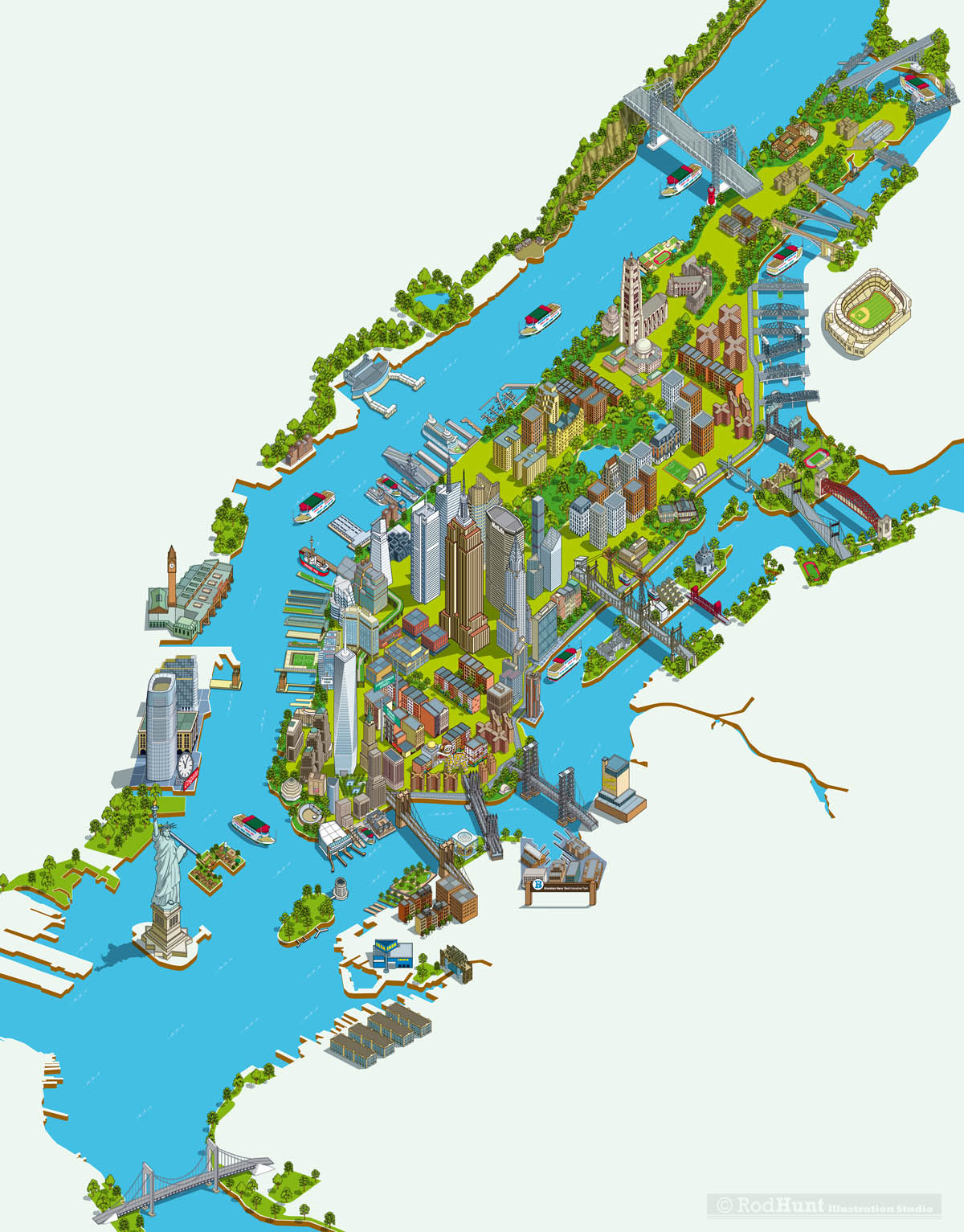 New York City Map Of Attractions.Rod Hunt Illustration And Illustrated Maps Map Illustrator