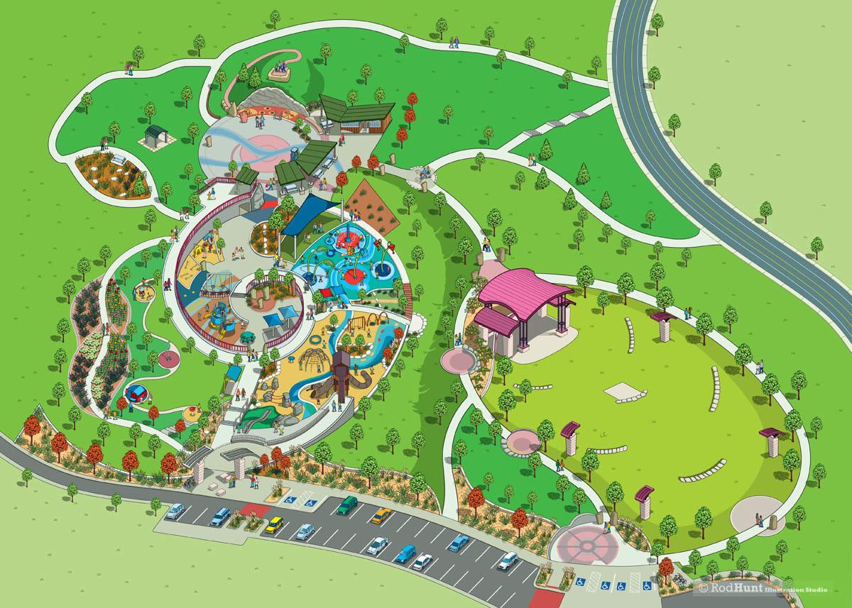 Rod Hunt / Illustration and Illustrated Maps - Map Illustrator ... City Park Map on