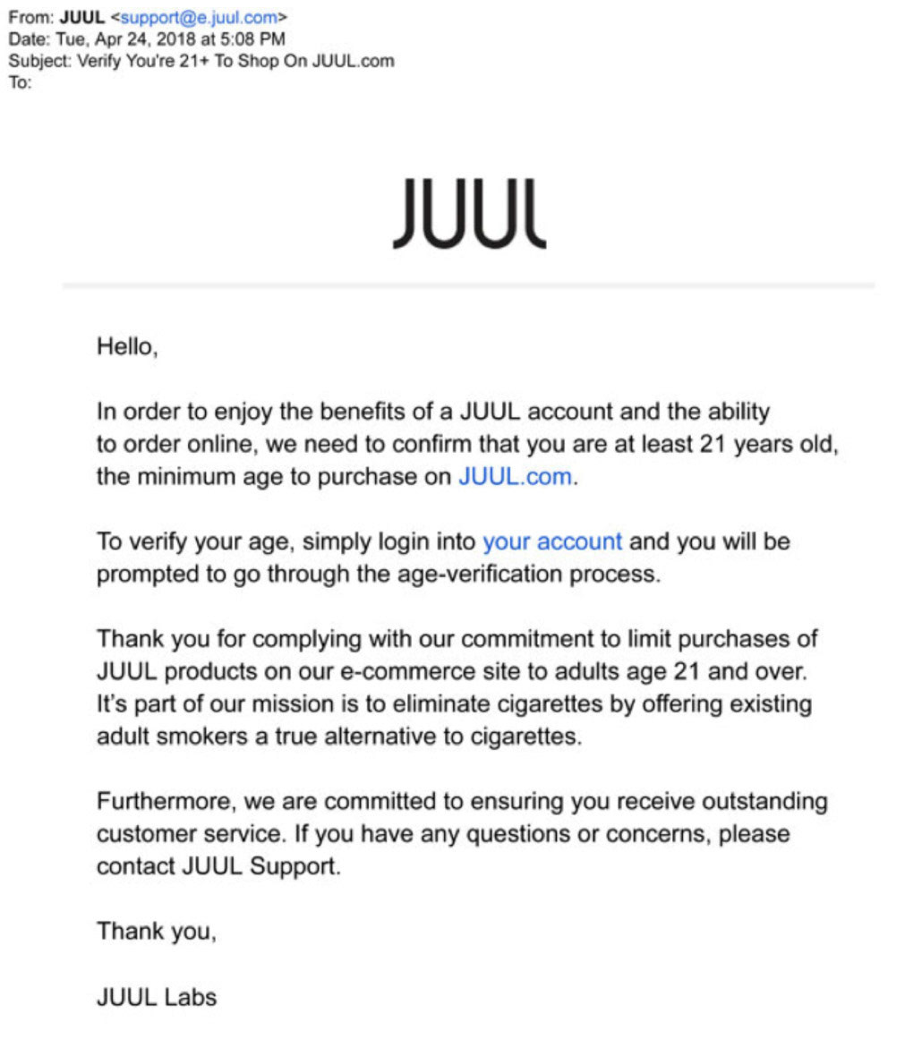 In re: JUUL Products Litigation - Company Messages